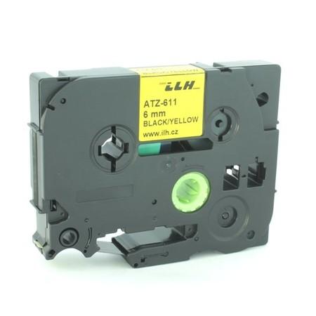 Páska ATZ-611 žltá/čierny tlač, 6 mm