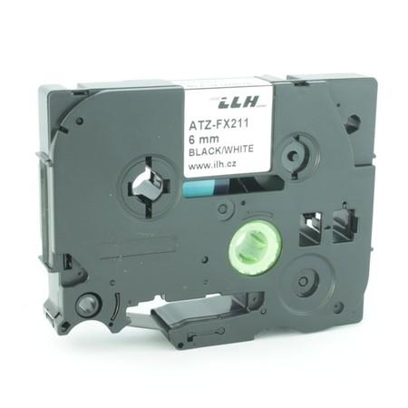 Páska ATZ-FX211 biela/čierny tlač, 6 mm, flexibilná