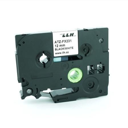 Páska ATZ-FX231 biela/čierny tlač, 12 mm, flexibilná