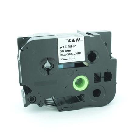 Páska ATZ-M961 strieborná metalická/čierny tlač, 36 mm