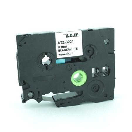 Páska ATZ-S221 biela/čierny tlač, 9 mm, silné lepidlo