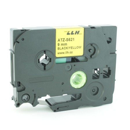 Páska ATZ-S621 žltá/čierny tlač, 9 mm, silné lepidlo