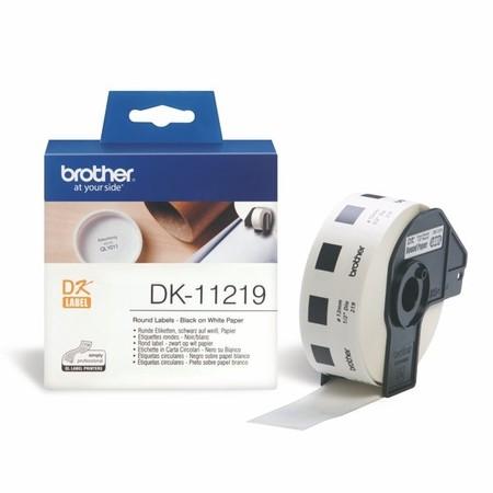 Papierové štítky Brother DK11219 okrúhle, průměr 12 mm, 1200 ks