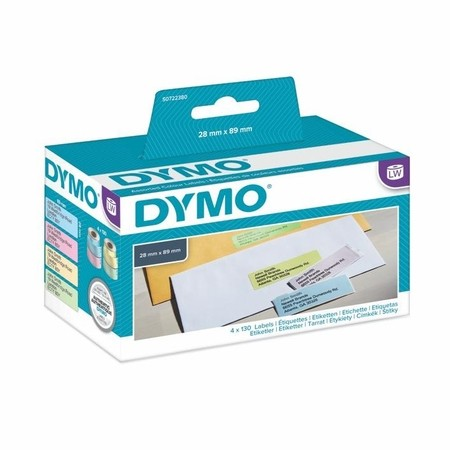 Papierové štítky Dymo S0722380, 89x28 mm, mix farieb, 4x130 ks