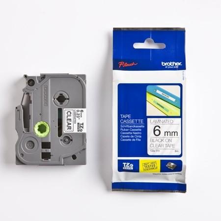 Páska Brother TZE-111 priehľadná/čierny tlač, 6 mm