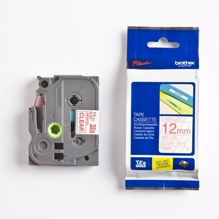 Páska Brother TZE-132 priehľadná/červený tlač, 12 mm