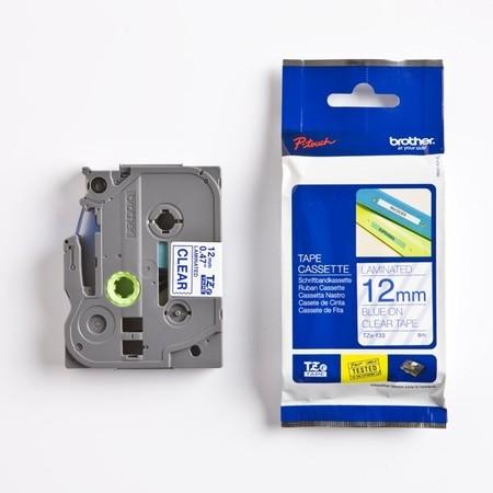 Páska Brother TZE-133 priehľadná/modrý tlač, 12 mm