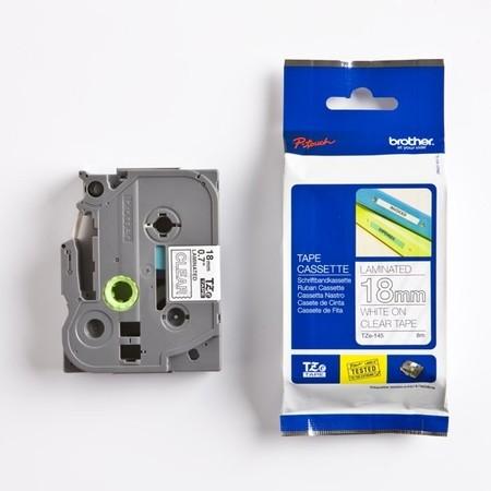 Páska Brother TZE-145 priehľadná/biely tlač, 18 mm