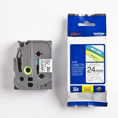 Páska Brother TZE-151 priehľadná/čierny tlač, 24 mm
