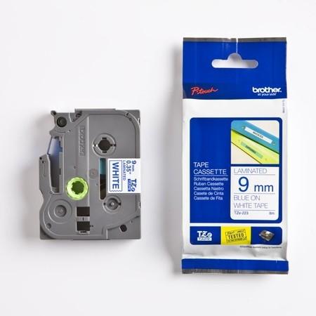 Páska Brother TZE-223 biela/modrý tlač, 9 mm