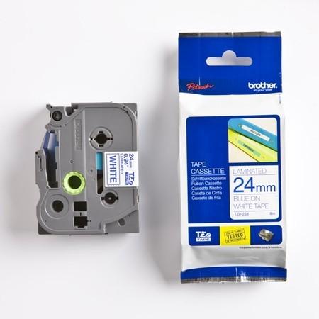 Páska Brother TZE-253 biela/modrý tlač, 24 mm