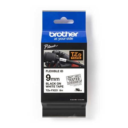 Páska Brother TZE-FX221 biela/čierny tlač, 9 mm, flexibilná