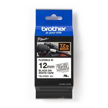 Páska Brother TZE-FX231 biela/čierny tlač, 12 mm, flexibilná
