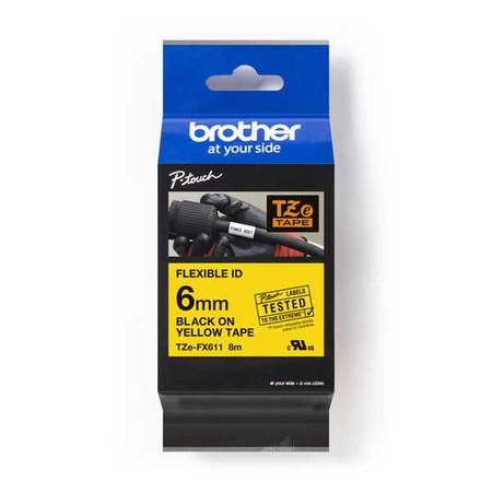 Páska Brother TZE-FX611 žltá/čierny tlač, 6 mm, flexibilná