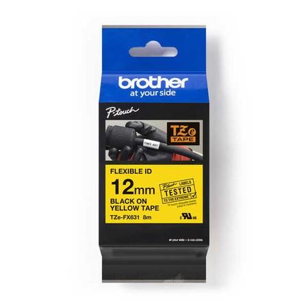 Páska Brother TZE-FX631 žltá/čierny tlač, 12 mm, flexibilná