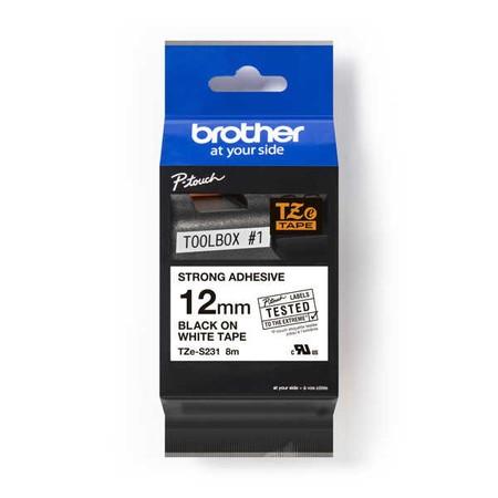 Páska Brother TZE-S231 biela/čierny tlač, 12 mm, silné lepidlo