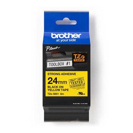 Páska Brother TZE-S651 žltá/čierny tlač, 24 mm, silné lepidlo