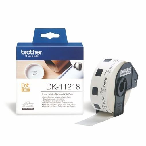Papierové štítky Brother DK11218 okrúhle, průměr 24 mm, 1000 ks