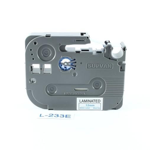 Páska Supvan L-233E biela/modrý tlač, 12 mm